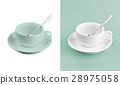 Cup on white & turquoise background 28975058
