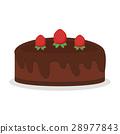 Chocolate cream birthday cake pie isolated vector 28977843
