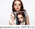 Beautiful girl holding fashion beauty magazine 28978132