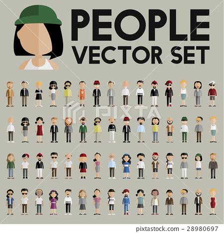 Diversity Community People Flat Design Icons Concept 28980697