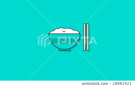 Rice bowl cartoon character vector illustration 28981421