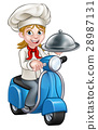Cartoon Woman Delivery Moped Chef 28987131