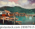 seascape painting showing old fishing village 28987615