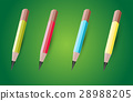 four colored pencils. 28988205