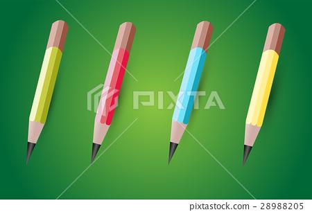 four colored pencils. 28988205