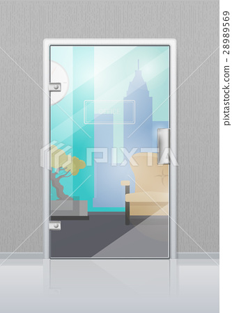Office Interior Through Glass Door Flat Vector 28989569