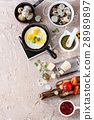 Breakfast with fried quail eggs 28989897