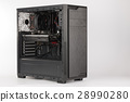 Open midi tower computer case on white background 28990280