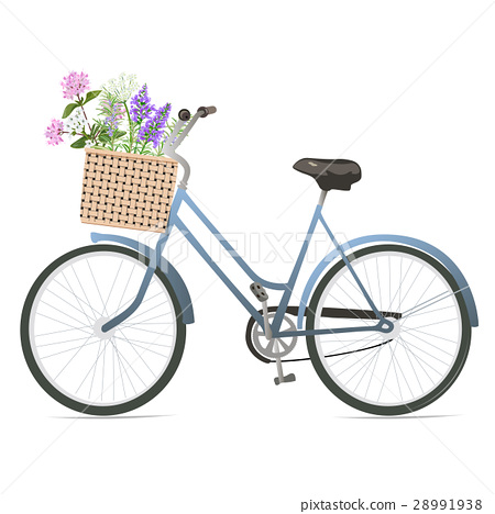 Bicycle with flowers in basket. 28991938