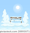 Wooden Isolated Bench Under Snow Between Trees 28993071
