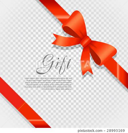 Gift Red Wide Ribbon. Bright Bow with Two Petals 28993169