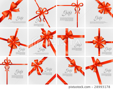 Gift Red Wide Ribbon. Bright Bow with Two Petals 28993178