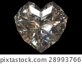 3d rendering of a diamond heart shape isolated. 28993766