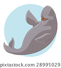 Cartoon Smiling Dugong 28995029