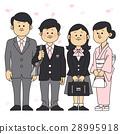입학식 이미지 벚꽃 흩 날리는 부모와 남자와 여자 (고교생) 28995918