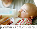 Father feeding newborn baby daughter with milk in 28996743