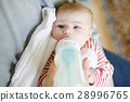 Father feeding newborn baby daughter with milk in 28996765