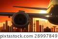 Kuwait Airplane Take Off Skyline Golden Background 28997849
