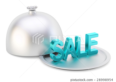 Restaurant cloche with sale text, 3D rendering 28998954