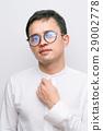 Man white suit Nosebleeds patient close-up 29002778