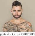 Caucasian Man Tattooed Chest 29006983