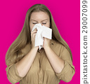Caucasian Woman Sneezing Crying Tissue 29007099