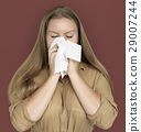 Caucasian Woman Sneezing Crying Tissue 29007244