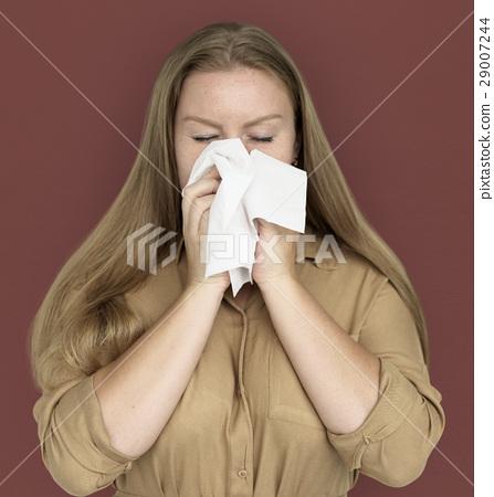 Caucasian Woman Sneezing Crying Tissue 29007244