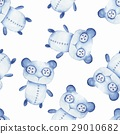 Seamless pattern with hand made toys. Watercolor 29010682