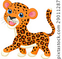 Cute baby leopard cartoon 29011287