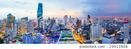 Panorama bangkok city in business district area 29013808