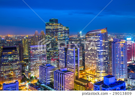 Bangkok city in business district area, Thailand 29013809