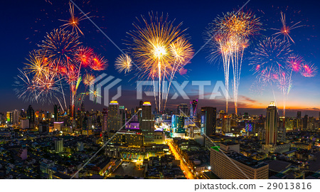 Firework in festival event exploding over the city 29013816