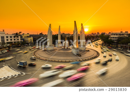 Car traffic with the sunset background 29013830