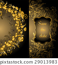 Vintage vector card with golden round frame of 29013983