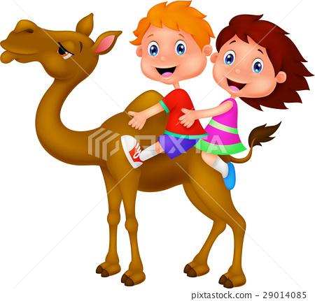 Boy and girl riding camel 29014085