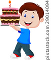 Boy with birthday cake 29014094