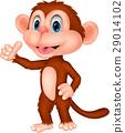 Cute monkey cartoon with thumb up 29014102