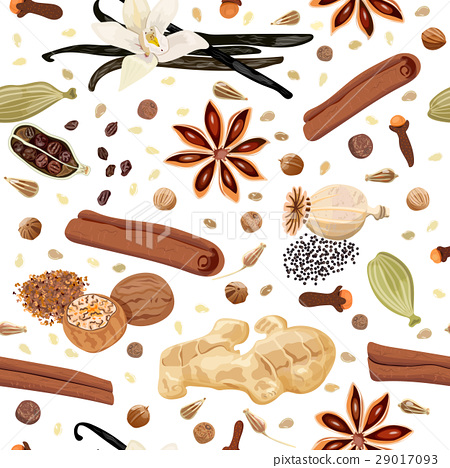 Backing spices seamless pattern vector set 29017093