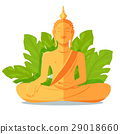 Buddha Golden Statue in front of Green Big Leaves 29018660