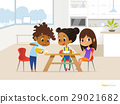 Multiracial children preparing lunch by themselves 29021682