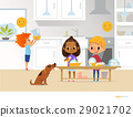 Children doing daily routine activities in kitchen 29021702