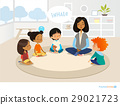 Smiling kindergarten teacher and children sitting 29021723