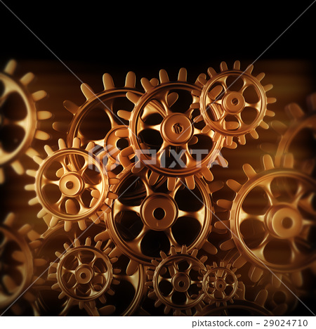 Gold gears and cogs macro 29024710