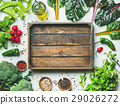 Fresh greens, vegetables and grains with wooden 29026272