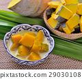 Thai Dessert, pumpkin in sweet coconut 29030108