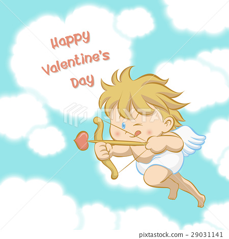 Cupid aiming with bow and arrow 29031141