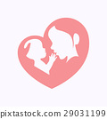 Mother holding a baby in heart shaped silhouette 29031199