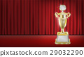 real golden trophy with red curtain stage backgrou 29032290