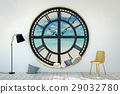 Room interior minimalist with clock window 29032780